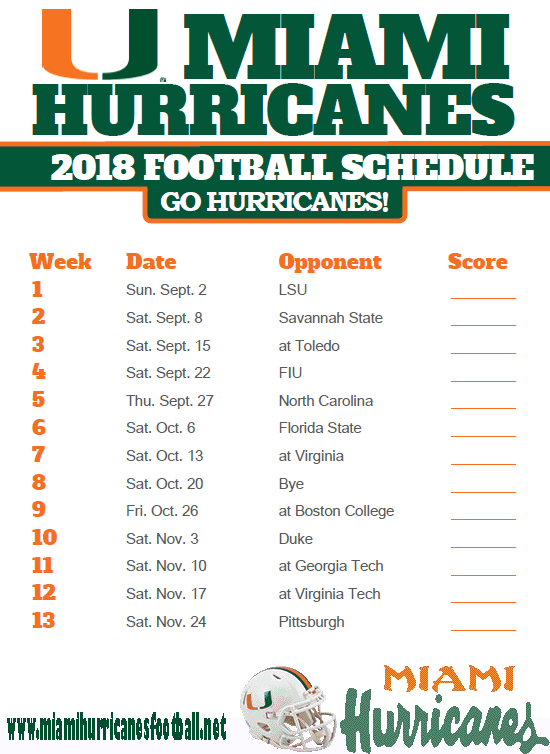 miami hurricanes schedule